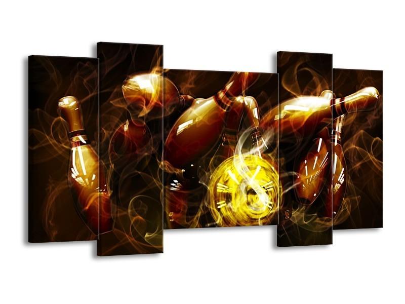 Glas schilderij Spel | Bruin, Geel, Zwart | 120x65cm 5Luik
