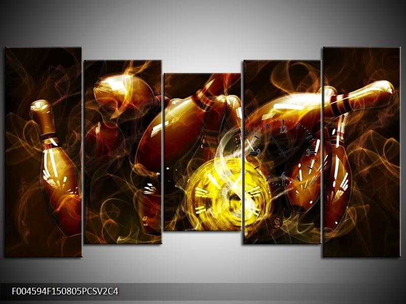 Klok schilderij Spel | Bruin, Geel, Zwart | 150x80cm 5Luik
