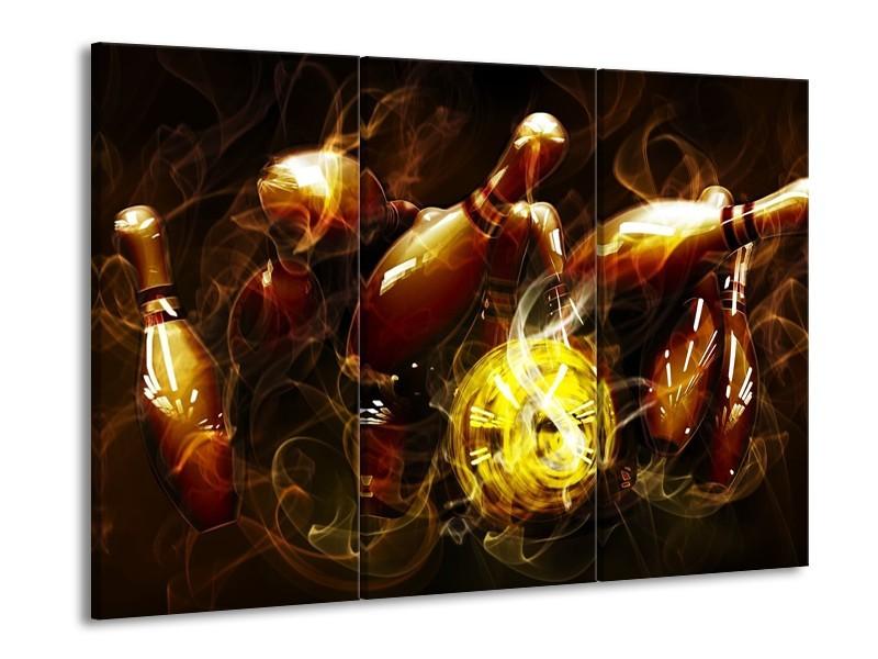 Canvas schilderij Spel | Bruin, Geel, Zwart | 90x60cm 3Luik