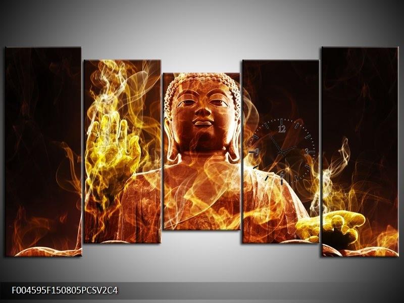 Klok schilderij Boeddha | Bruin, Geel, Zwart | 150x80cm 5Luik