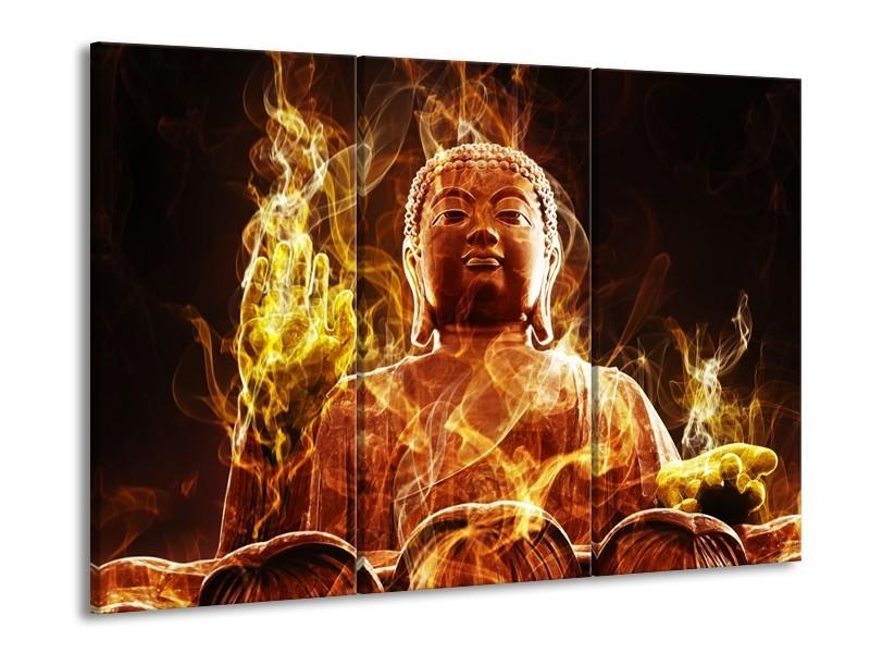 Canvas schilderij Boeddha | Bruin, Geel, Zwart | 90x60cm 3Luik