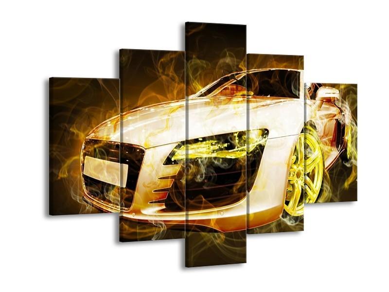 Canvas schilderij Audi | Geel, Wit, Groen | 150x105cm 5Luik