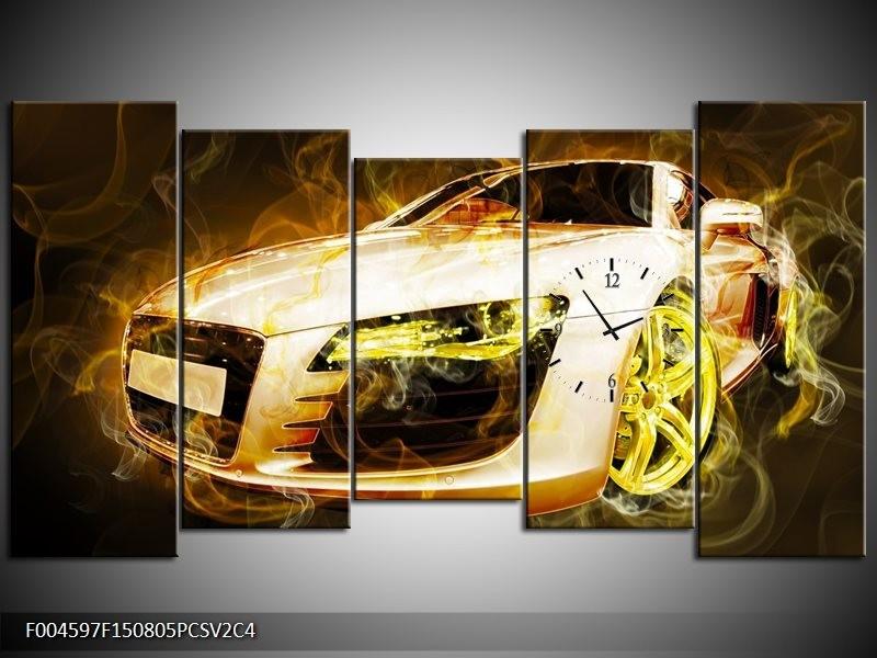 Klok schilderij Audi | Geel, Wit, Groen | 150x80cm 5Luik