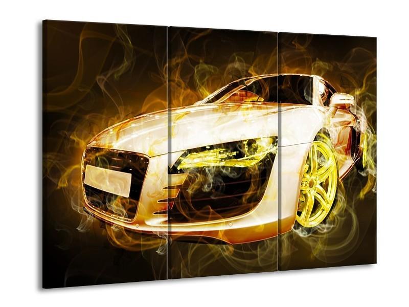 Glas schilderij Audi | Geel, Wit, Groen | 90x60cm 3Luik