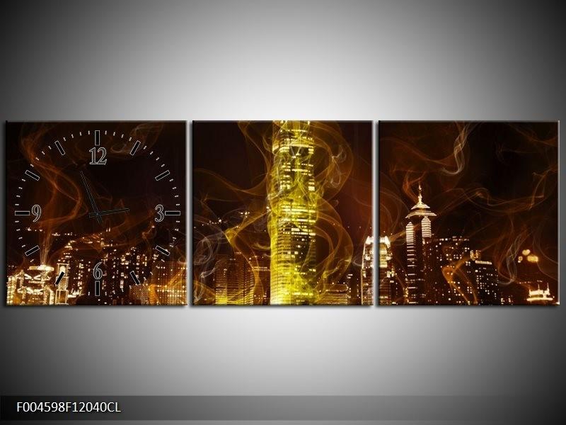 Klok schilderij Modern   Geel, Wit, Groen   120x40cm 3Luik