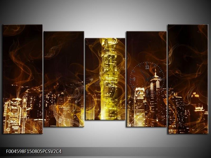 Klok schilderij Modern | Geel, Wit, Groen | 150x80cm 5Luik