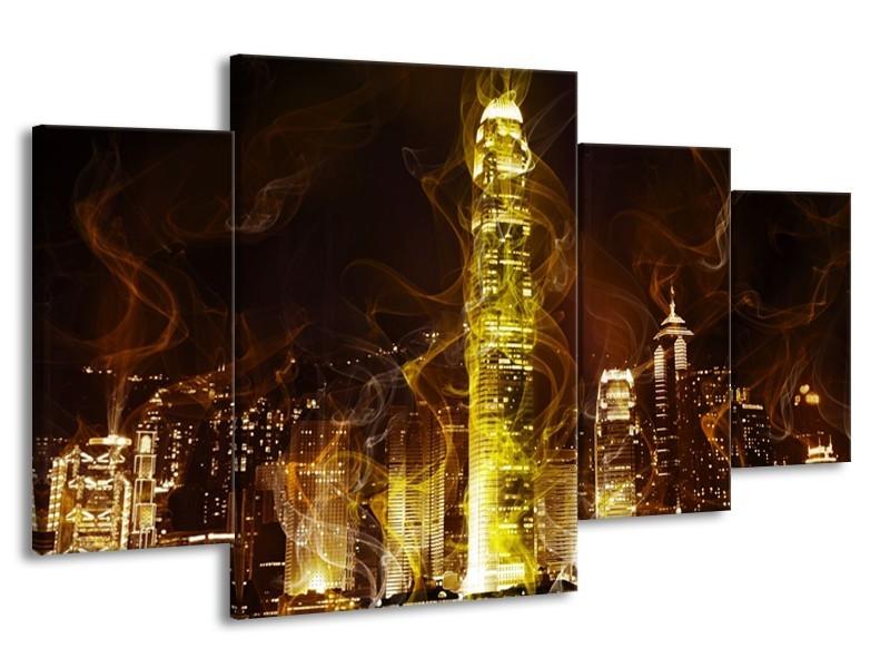 Glas schilderij Modern   Geel, Wit, Groen   160x90cm 4Luik
