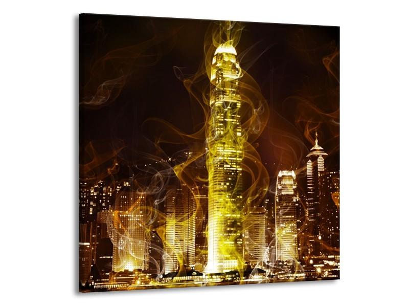 Glas schilderij Modern   Geel, Wit, Groen   70x70cm 1Luik