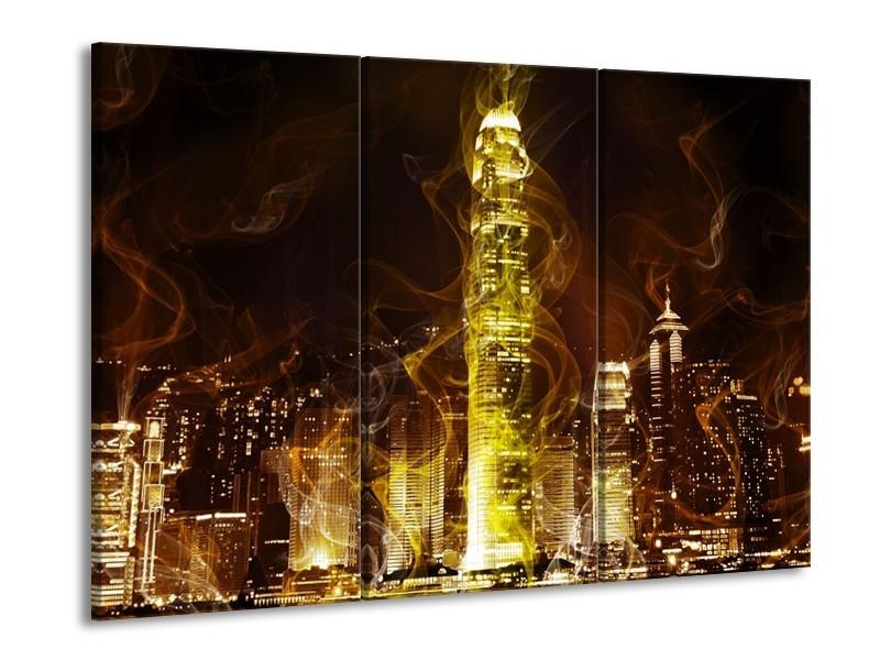 Canvas schilderij Modern | Geel, Wit, Groen | 90x60cm 3Luik