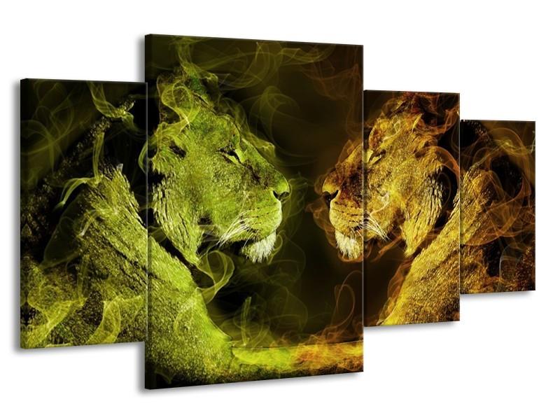 Glas schilderij Leeuw   Geel, Wit, Groen   160x90cm 4Luik