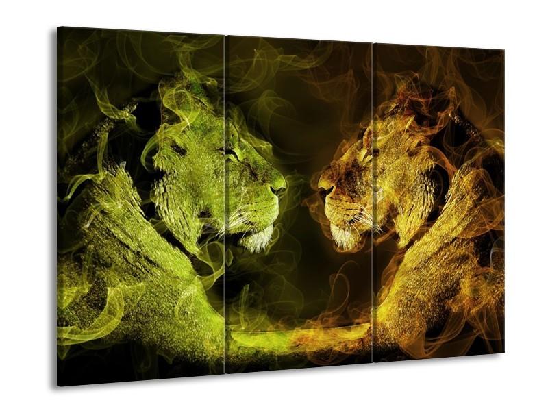 Canvas schilderij Leeuw | Geel, Wit, Groen | 90x60cm 3Luik