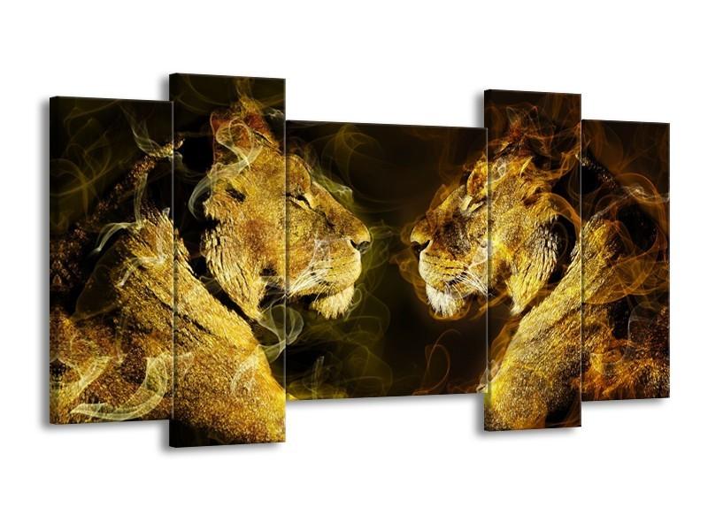 Canvas schilderij Leeuw | Geel, Wit, Groen | 120x65 5Luik