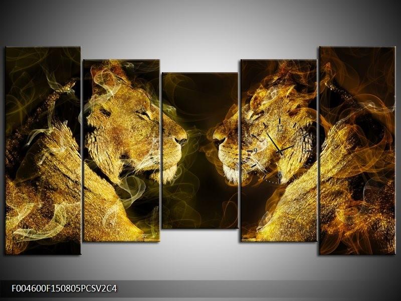 Klok schilderij Leeuw | Geel, Wit, Groen | 150x80cm 5Luik