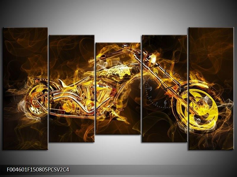 Klok schilderij Motor | Geel, Wit, Groen | 150x80cm 5Luik