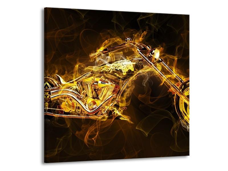 Canvas schilderij Motor | Geel, Wit, Groen | 50x50cm 1Luik