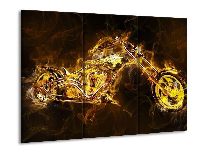 Canvas schilderij Motor | Geel, Wit, Groen | 90x60cm 3Luik