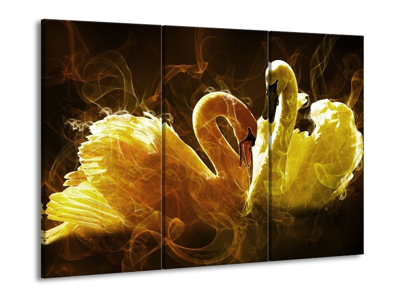 Glas schilderij Zwaan | Geel, Wit, Groen | 90x60cm 3Luik