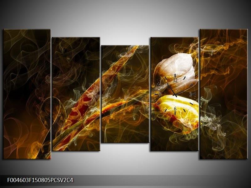 Klok schilderij Tulp | Geel, Wit, Groen | 150x80cm 5Luik