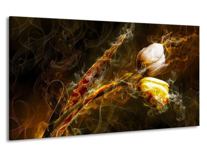 Canvas schilderij Tulp | Geel, Wit, Groen | 190x100cm 1Luik