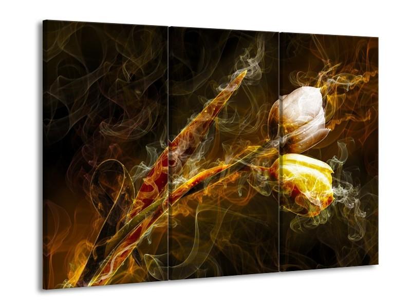 Canvas schilderij Tulp | Geel, Wit, Groen | 90x60cm 3Luik