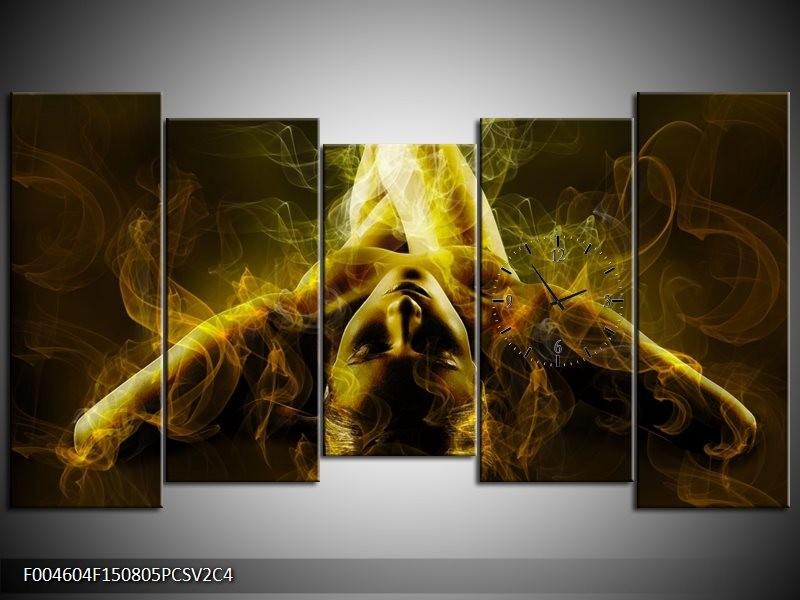 Klok schilderij Lichaam | Geel, Wit, Groen | 150x80cm 5Luik
