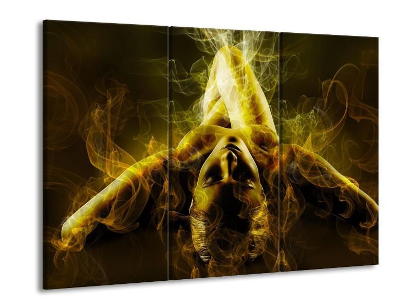 Canvas schilderij Lichaam | Geel, Wit, Groen | 90x60cm 3Luik