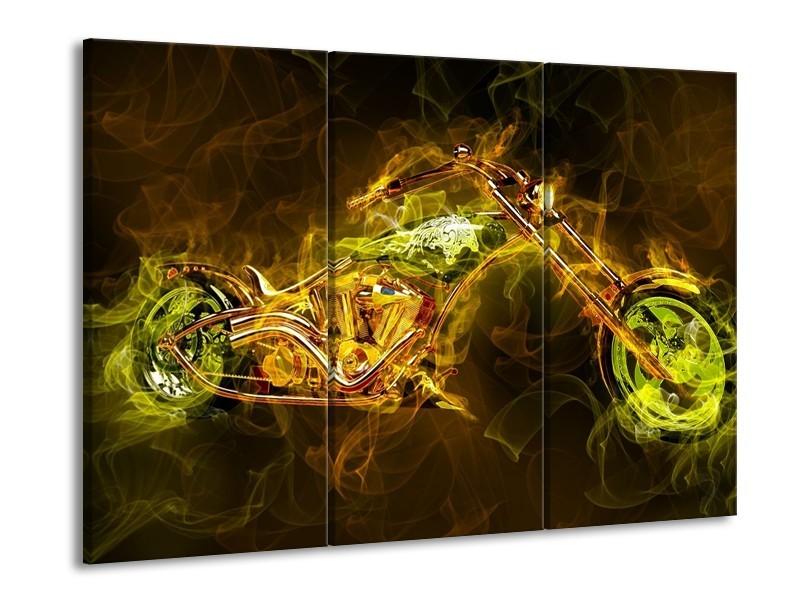 Glas schilderij Motor | Geel, Wit, Groen | 90x60cm 3Luik