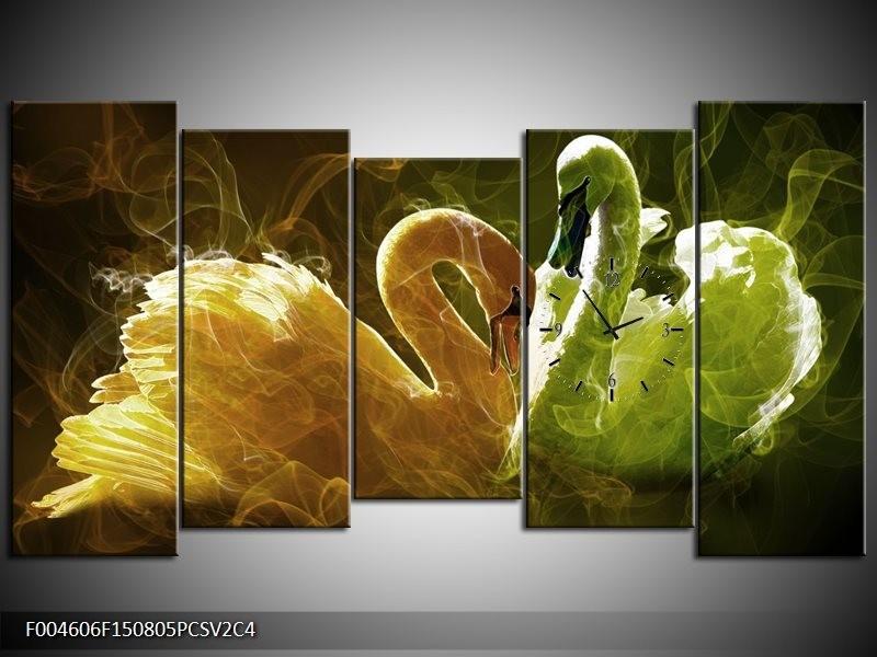 Klok schilderij Zwaan | Geel, Wit, Groen | 150x80cm 5Luik