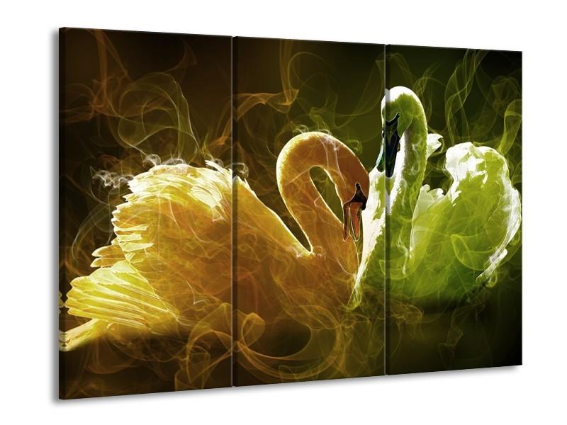 Canvas schilderij Zwaan | Geel, Wit, Groen | 90x60cm 3Luik