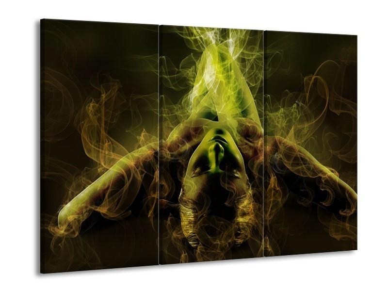 Glas schilderij Lichaam | Geel, Wit, Groen | 90x60cm 3Luik