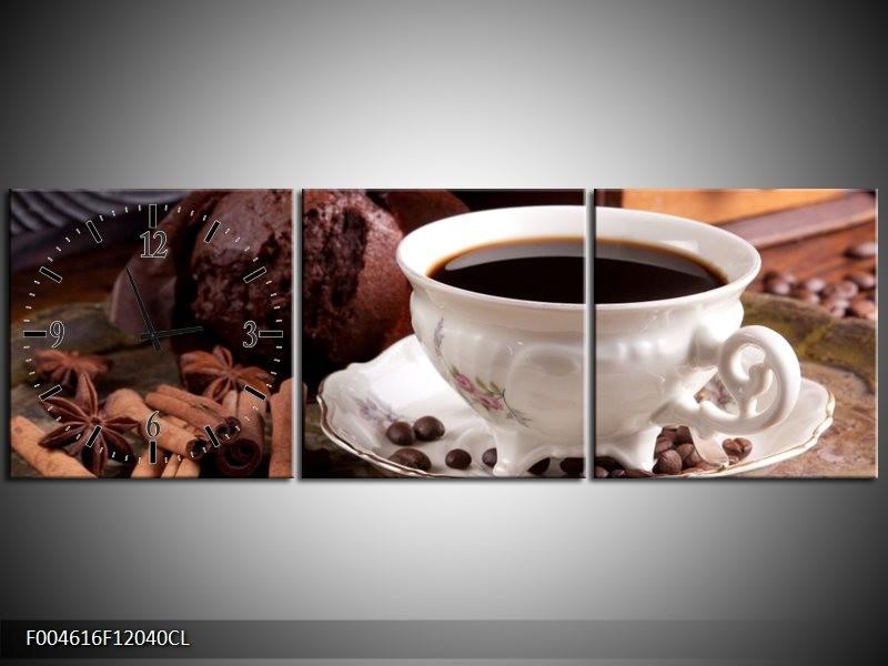 Klok schilderij Koffie | Wit, Bruin | 120x40cm 3Luik