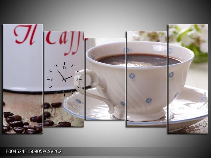 Klok schilderij Koffie | Wit, Bruin | 150x80cm 5Luik
