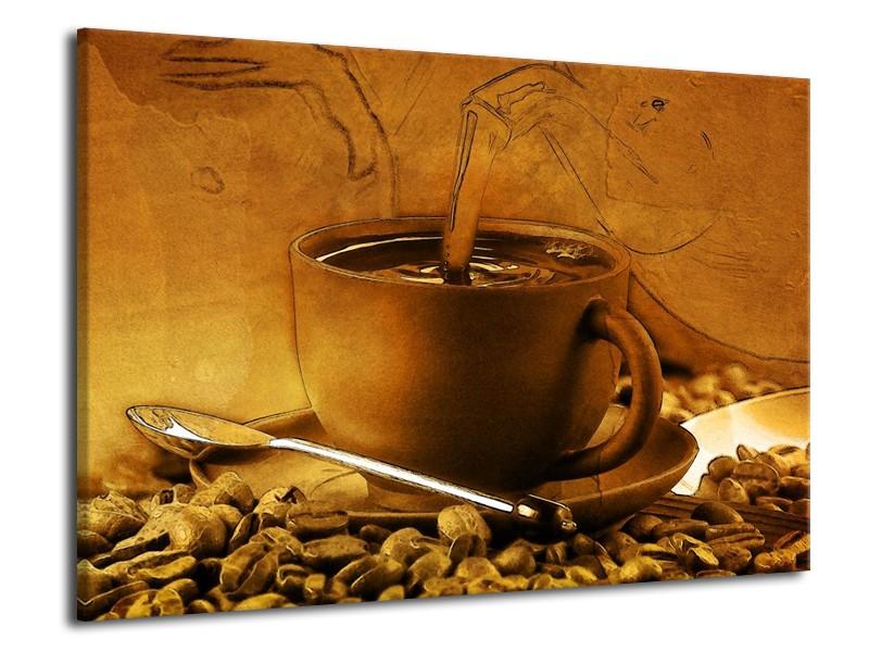 Canvas schilderij Koffie   Wit, Bruin, Geel   70x50cm 1Luik