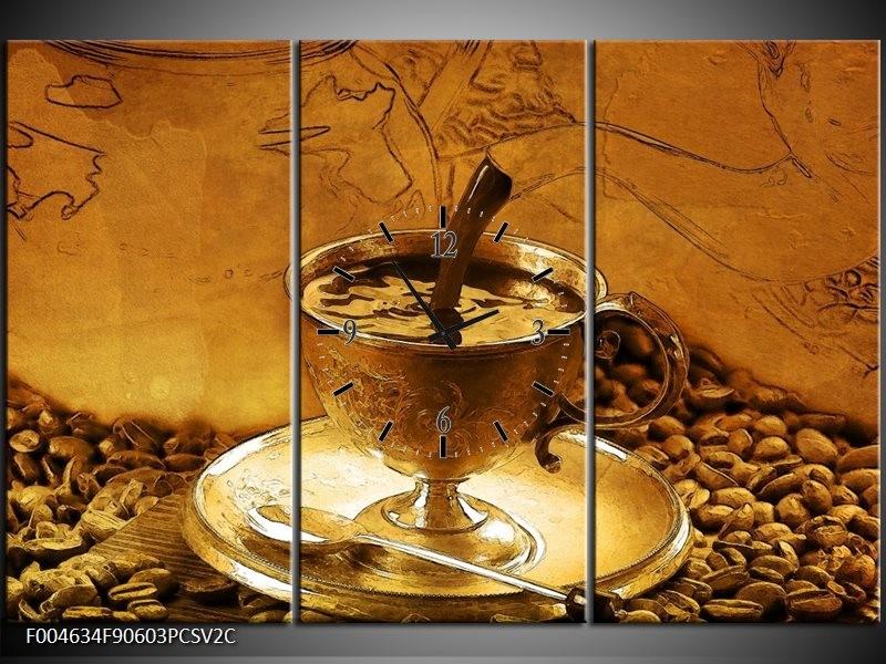 Klok schilderij Koffie | Bruin, Geel | 90x60cm 3Luik