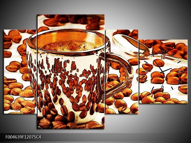 Klok schilderij Koffie | Bruin, Geel | 120x75cm 4Luik