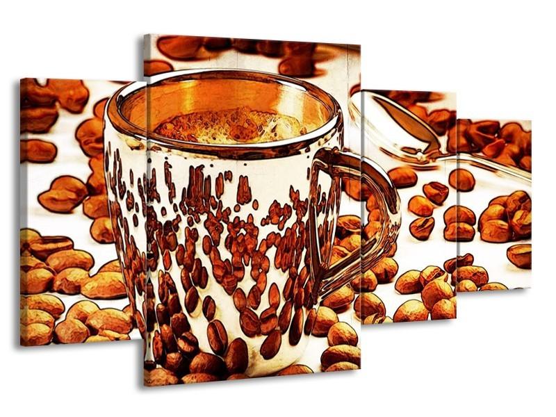 Glas schilderij Koffie | Bruin, Geel | 160x90cm 4Luik