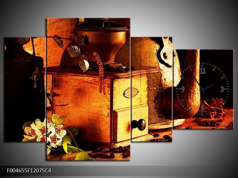 Klok schilderij Koffie   Bruin, Geel   120x75cm 4Luik