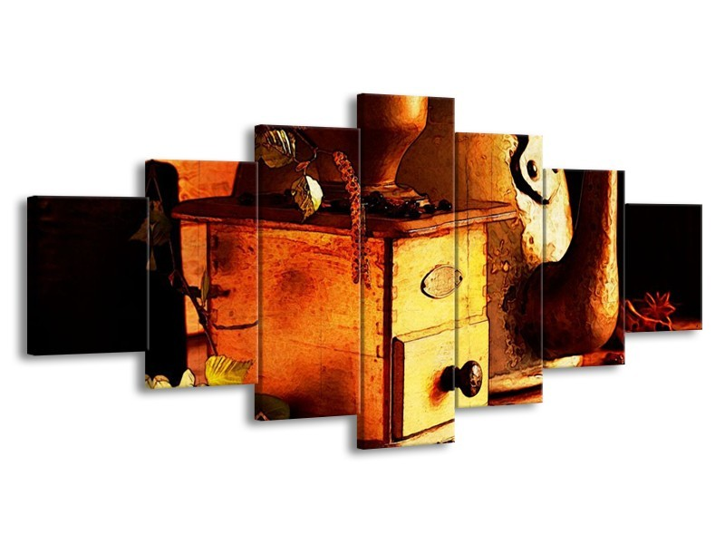 Canvas schilderij Koffie   Bruin, Geel   210x100cm 7Luik