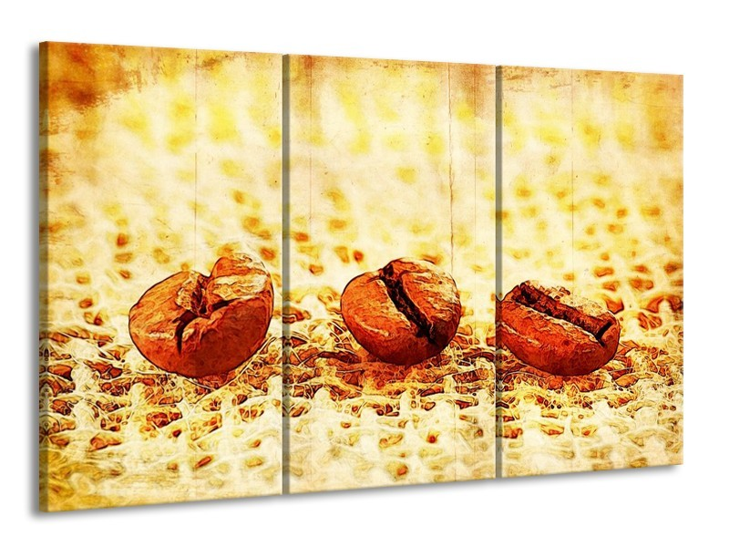 Glas schilderij Keuken | Bruin, Geel | 165x100cm 3Luik