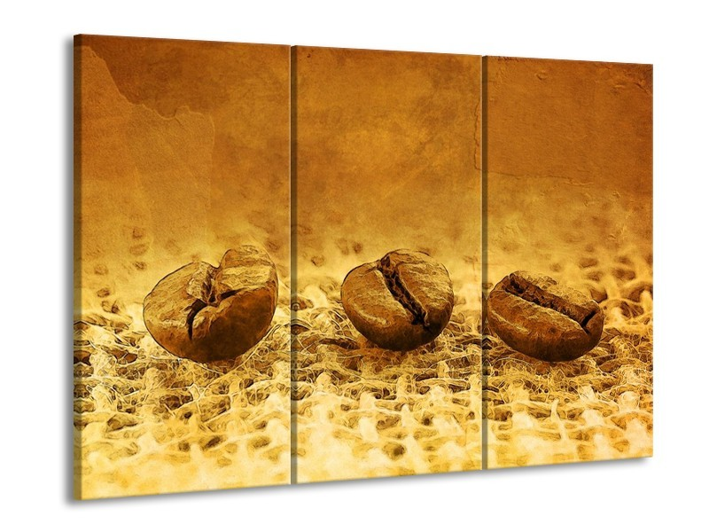 Canvas schilderij Keuken   Bruin, Geel   90x60cm 3Luik