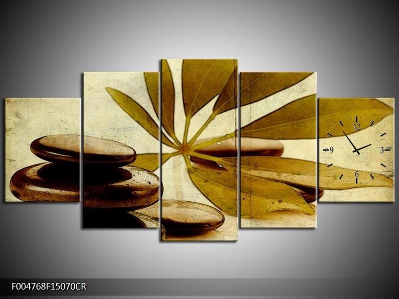 Klok schilderij Spa | Bruin, Zwart | 150x70cm 5Luik