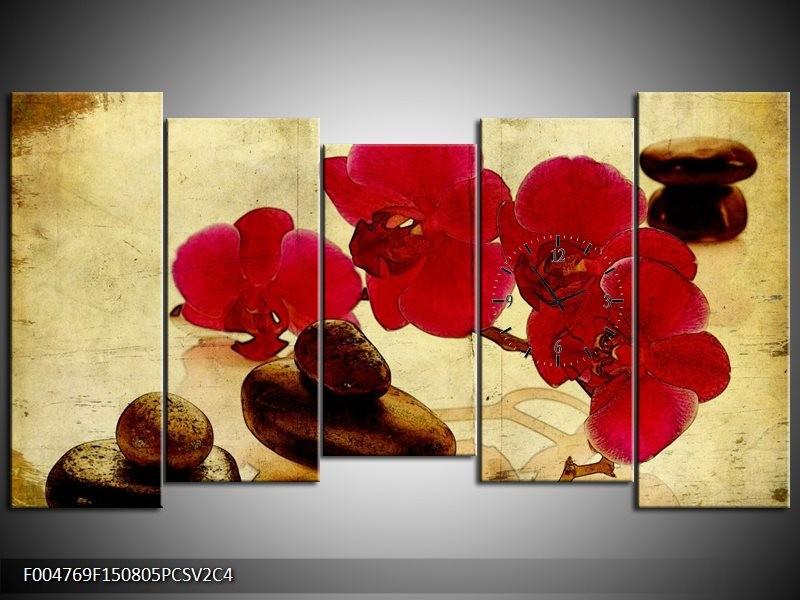 Klok schilderij Orchidee   Rood, Bruin, Geel   150x80cm 5Luik