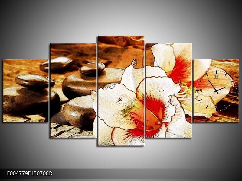 Klok schilderij Bloem | Wit, Rood, Geel | 150x70cm 5Luik