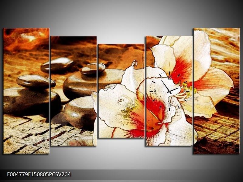 Klok schilderij Bloem   Wit, Rood, Geel   150x80cm 5Luik