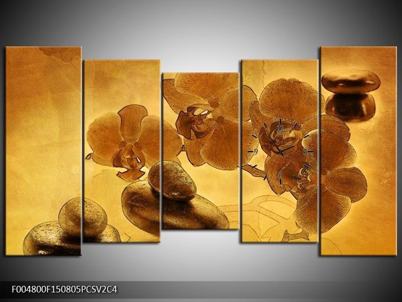 Klok schilderij Orchidee   Bruin   150x80cm 5Luik