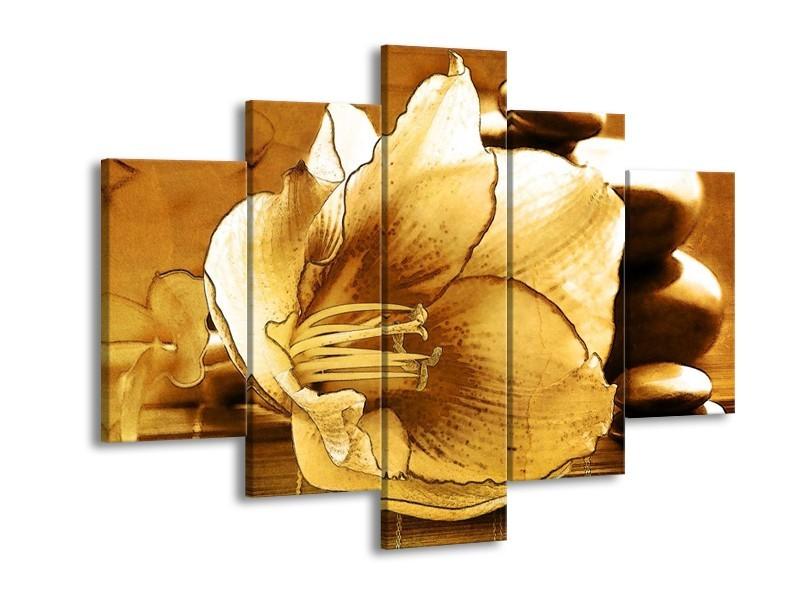 Glas schilderij Bloem | Bruin | 150x105cm 5Luik