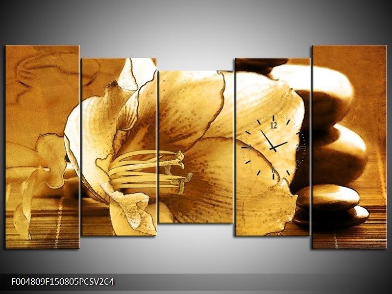 Klok schilderij Bloem   Bruin   150x80cm 5Luik
