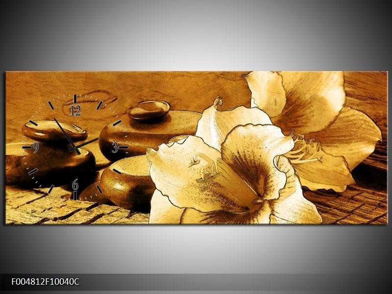 Klok schilderij Bloem | Bruin | 100x40cm 1Luik