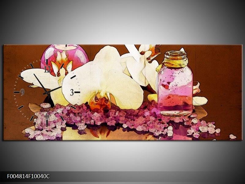 Klok schilderij Orchidee | Paars, Wit, Bruin | 100x40cm 1Luik