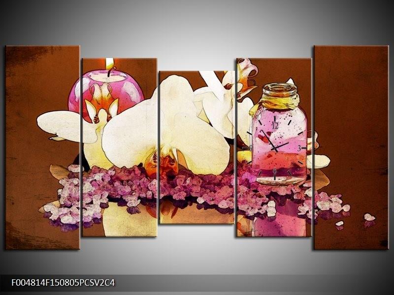 Klok schilderij Orchidee | Paars, Wit, Bruin | 150x80cm 5Luik